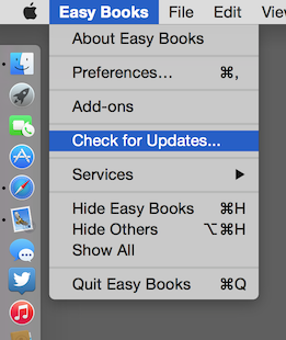 Showing how to update Easy Books for Mac (direct download version)