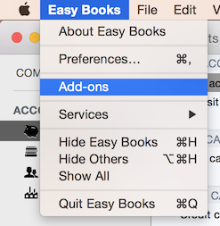 Easy Books for Mac In-App Purchases Add-ons screen