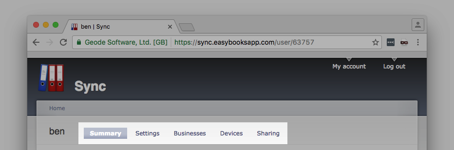 Your sync account contains the following tabs
