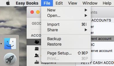 Easy Books File menu